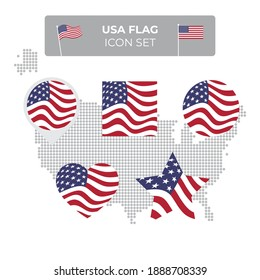 USA flag icons set in the shape of square, heart, circle, stars and pointer, map marker. USA mosaic map. American flag waving in the wind. US flat vector symbol, icon, button