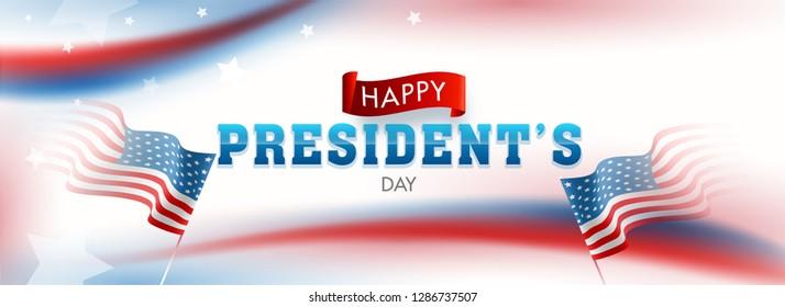 USA flag illustration on glossy background for Happy President's Day header or banner design.