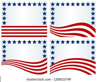 USA Flag inspired backgrounds-Backgrounds using elements of the USA flag; use for July 4th, Memorial Day, Veterans Day, Presidents Day, September 11th or for general or voting purposes
