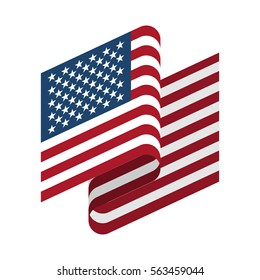 USA Flag isolated. America ribbon banner. state symbol