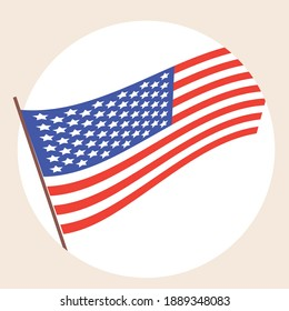 USA flag isolated. Flat vector stock illustration. America's flag as a symbol of patriotism, democracy, independence. American flag as icon, logo, emblem. Isolated illustration with USA