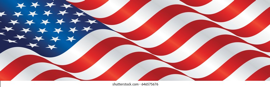 USA flag long drawn landscape background