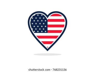 USA flag love logo