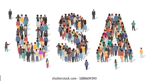 USA flag made of many people, large crowd shape. Group of people stay in US map formation. United States of America infographic, vector illustration.