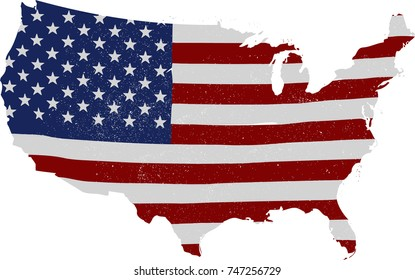 USA flag map