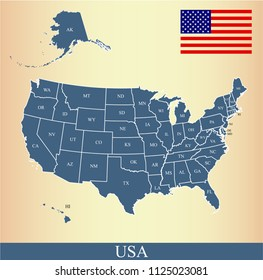 USA flag and map vector outline blue background. United States map with abbreviated states names and capital location and name, Washington DC.