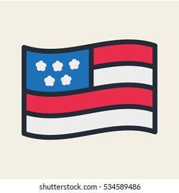 USA Flag Minimal Flat Color Line Outline Stroke Icon Pictogram Symbol