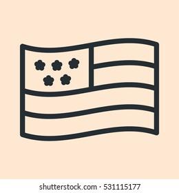 USA Flag Minimal Flat Line Outline Stroke Icon Pictogram Symbol