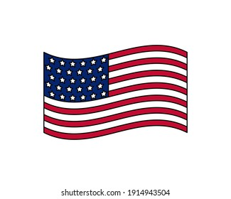 USA flag national American flat icon, United States of America country illustration vector.