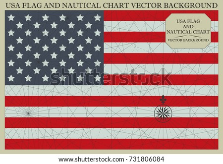 Usa Flag Nautical Chart Vector Background Stock Vector