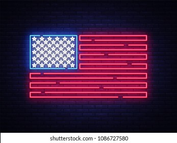 USA flag neon sign. Night bright Signboard USA flag. USA flag vector, neon symbol, light icon. Vector illustration