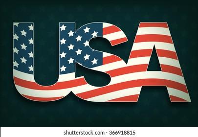 USA with Flag on Dark Background