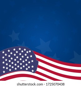 USA flag on dark blue background. Light white stars in the background. You can place your text here. Blue gradient background.