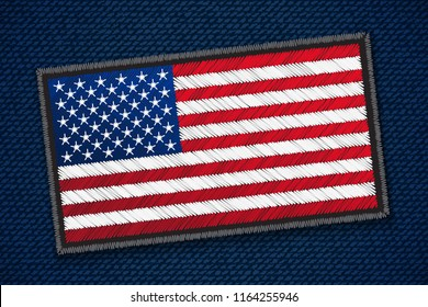 USA Flag on jeans fabric. Vector illustration. Digital craft style - embroidery, patch, simulating real fabric.