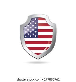 USA flag on a metal shield - vector art.