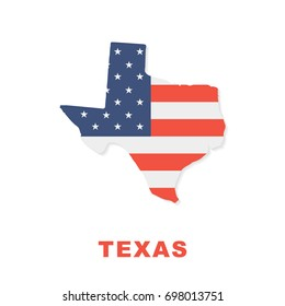 USA flag on Texas map isolated on white background
