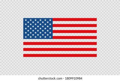 USA flag on transparent background. Isolated United States of America vector flat illustration