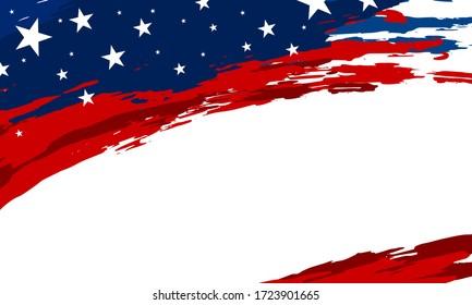 USA flag paintbrush banner on white background vector illustration