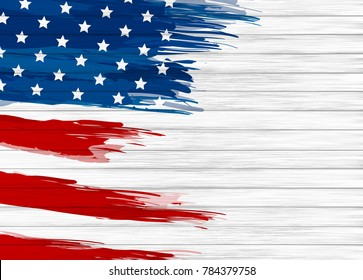 USA flag paintbrush on white wood texture background vector illustration