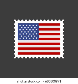 USA Flag Postage Stamp. Vector
