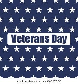 USA flag seamless pattern. White stars on a blue background. Veterans day
