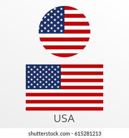 USA flag set. American national symbol. Vector illustration.
