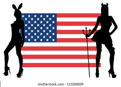 The USA flag with silhouettes of women in sexy costumes