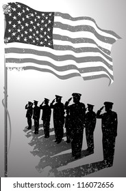 USA flag with soldiers silhouette salute.