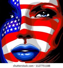 Usa Flag Stars and Stripes Beautiful Girl Portrait