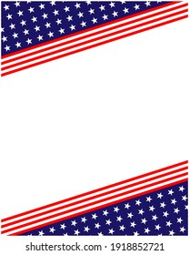 USA flag stars symbols background frame corner with empty space for your text.