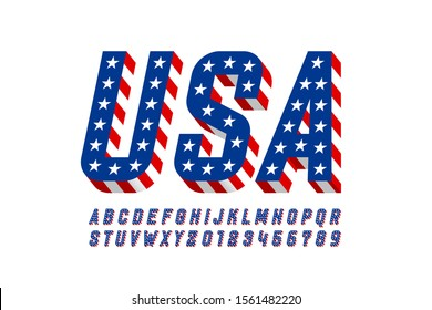 USA flag style font design, alphabet letters and numbers vector illustration