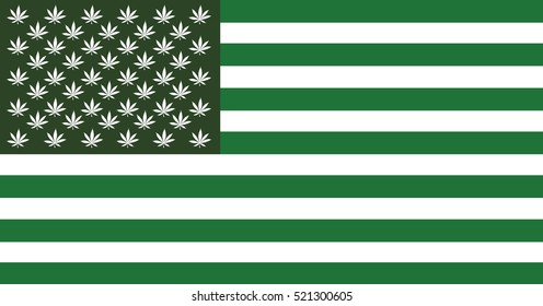 USA flag styled a green cannabis leafs. Vector image