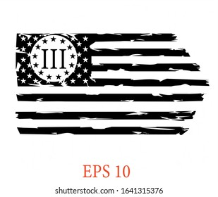 USA FLAG - Three Percenters Distressed American Flag cut files