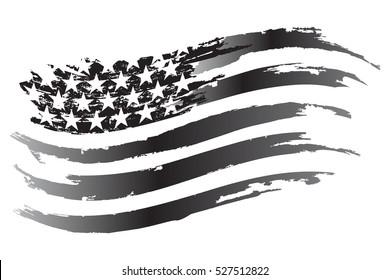 USA Flag Vector grayscale Icon