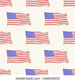 USA flag vector icon pattern, seamless, tile, background hand drawn style vector doodle design illustrations