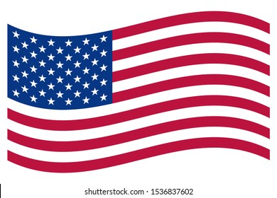 USA flag vector. Wavy flag USA vector. United States patriotic national flag, white background