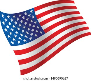 USA flag vector in white background