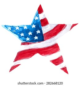 usa flag watercolor drawing