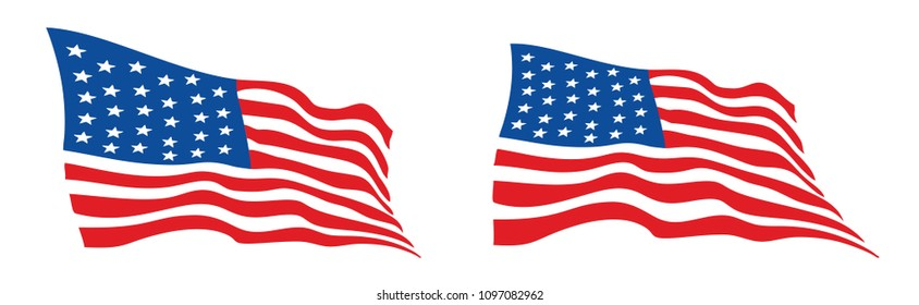 USA flag, Waving American flags Vector illustration EPS10