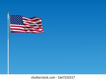 Die US-Flagge winkt auf dem Wind. Amerikanische Flagge hängt an der Fahne gegen den klaren blauen Himmel. Realistische Vektorillustration-Illustration