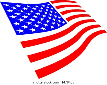 USA flag waving. Vector file change to any size you wish