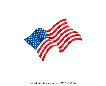 USA flag waving in the wind. vector illustration