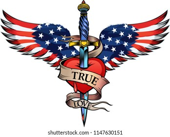 USA flag wing and heart