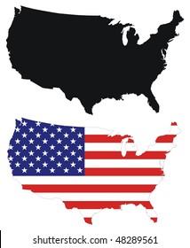 USA flag-design map