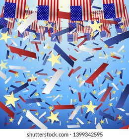 USA Flags Holliday. Festive American flags and falling confetti on a blue sky background. Vector Illustration