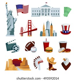 Usa flat icons set with american national symbols and attractions isolated on white background vector illustration