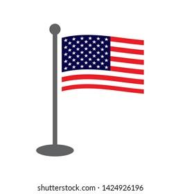 USA flat style waving flag on flagpole. American Usa waving flag on grey flagpole. USA flag vector eps10.