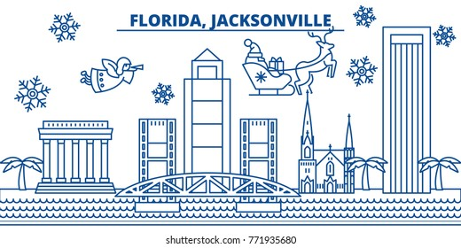 USA, Florida , Jacksonville winter city skyline. Merry Christmas and Happy New Year decorated banner. Winter greeting card with snow and Santa Claus. Flat, line vector. Linear christmas illustration