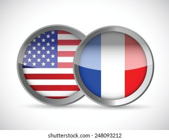 usa and france union seals illustration design over a white background