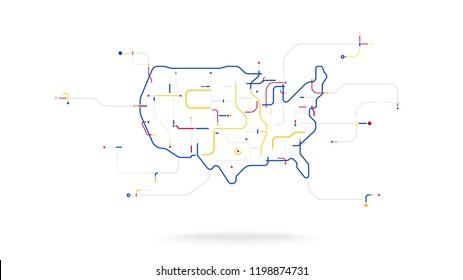 USA futuristic globe data network elements abstract background